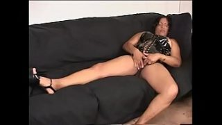 big ebony mama in black latex outfit elizabeth sweet likes to caress her pussy